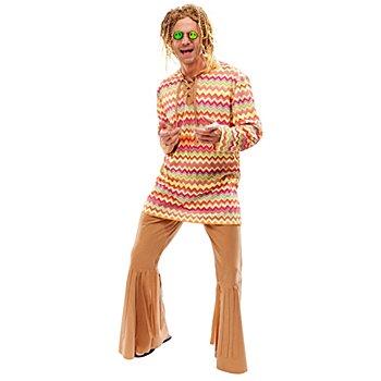 buttinette Hippie Kostüm für Herren, sandfarben/bunt