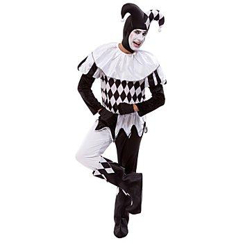 Pierrot Kostüm für Herren, schwarz/weiß