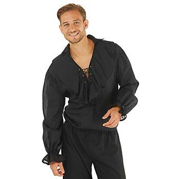 Chemise à froufous pour hommes, noir