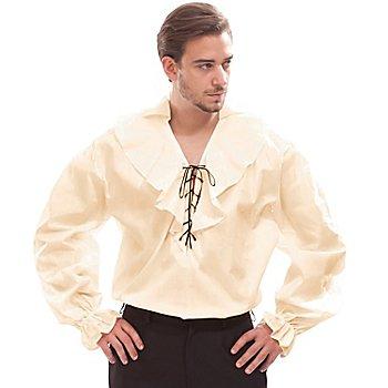 Herren Rüschenhemd, beige