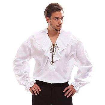 Herren Rüschenhemd, weiss