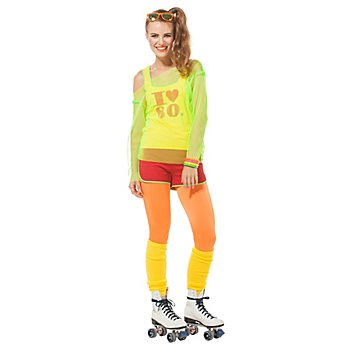 buttinette Kostüm 80er Jahre Girl, grün/rot
