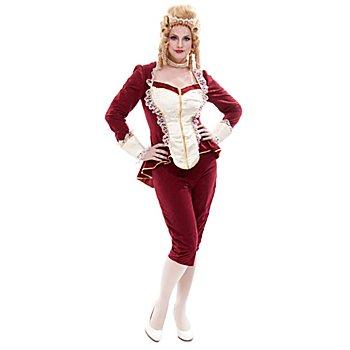 Rokoko Kostüm für Damen, weinrot/creme