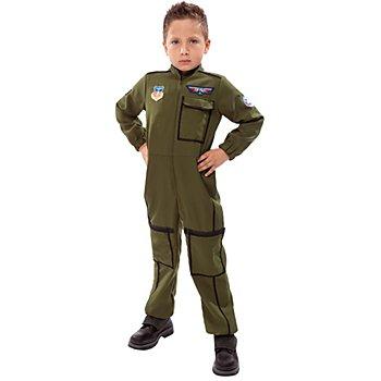 Combinaison pilote de chasse pour enfants, couleur olive