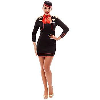 Stewardess Kostüm, schwarz/rot