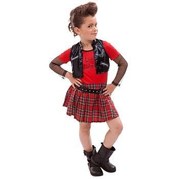 Punk Girl Kostüm für Kinder, schwarz/rot