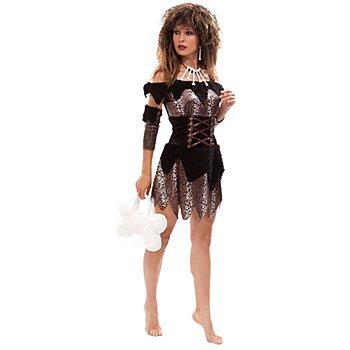 Neandertaler Kostüm für Damen, schwarz/Leodesign
