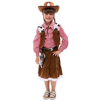 Cowgirl Kostüm für Kinder, braun/rot/weiss