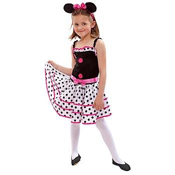 Mäuschen Kostüm für Kinder, pink/schwarz/weiss