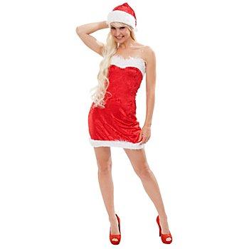Weihnachtsfrau Kostüm, rot/weiss