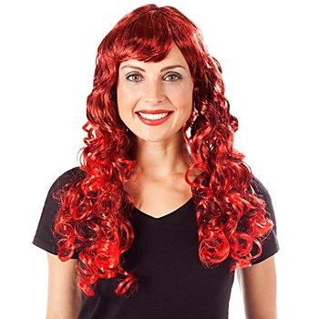 Perruque bouclée, rouge/noir