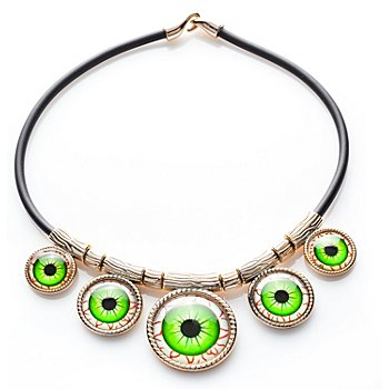 Halskette Augen, schwarz/gold/grün