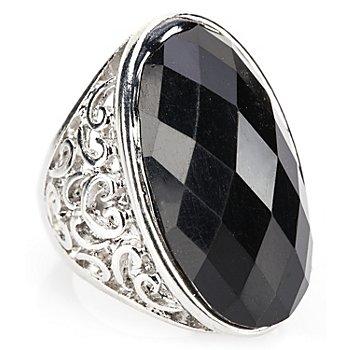 Gothic Ring, silber/schwarz