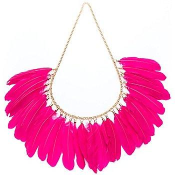 Collier de plumes, rose vif