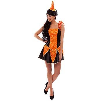 Kleid Harlekin, orange/schwarz