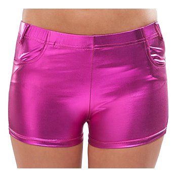 Hotpants aus Stretchlack, pink