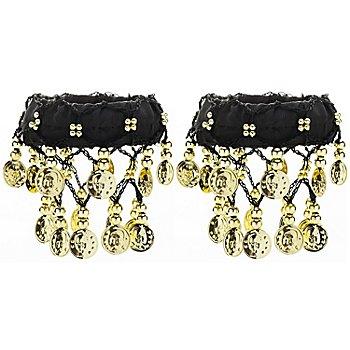 Bracelets de chevilles, noir/doré