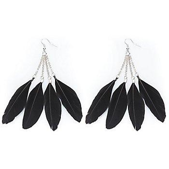 Boucles d'oreilles à plumes, noir