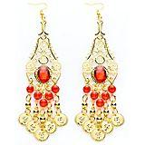Orientalische Ohrringe, gold/rot