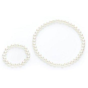 Set de bijoux en perles, crème