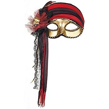 Venezianische Maske 'Pirat', gold/schwarz/rot