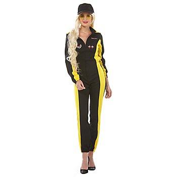 Rennfahreroverall für Damen, gelb/schwarz