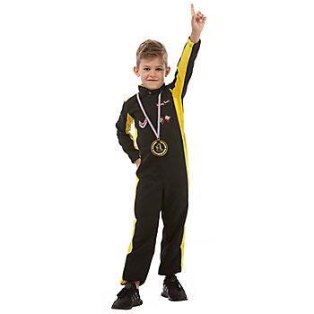 Combinaison pilote automobile pour enfants, jaune/noir
