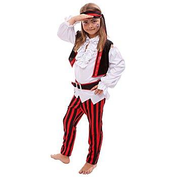 Piratin Kostüm für Kinder, rot/schwarz/weiß