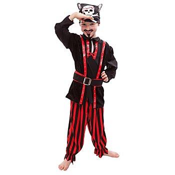 buttinette Pirat Kostüm für Kinder, rot/schwarz