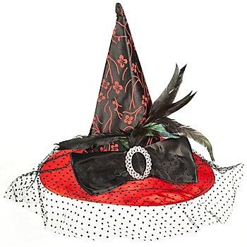 Hexenhut, rot/schwarz