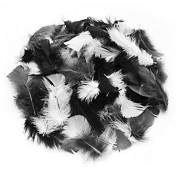 Echte Federn, schwarz-weiß-grau, 20 g = ca. 160–170 Federn