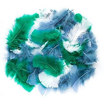 Echte Federn, weiss-blau-grün, 20 g = ca. 160–170 Federn