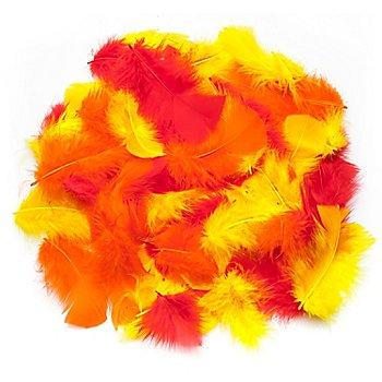 Echte Federn, rot-gelb-orange, 20 g = ca. 160–170 Federn