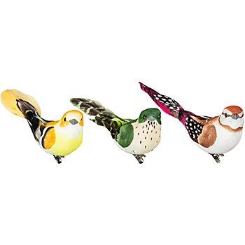 Federvögel mit Klammer, 11 cm, 3 Stück