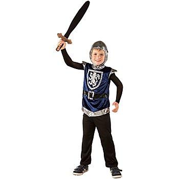 Ritter Kostüm für Kinder, blau/schwarz/silber