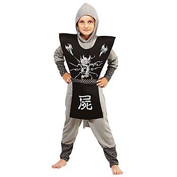 Ninja Kostüm für Kinder, grau/schwarz/weiß