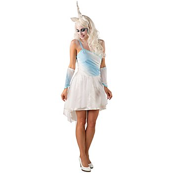 buttinette Einhorn Kostüm, weiss/hellblau