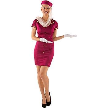 Stewardess Kostüm, fuchsia/gold
