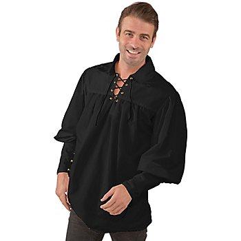 Herren Schnürhemd, schwarz