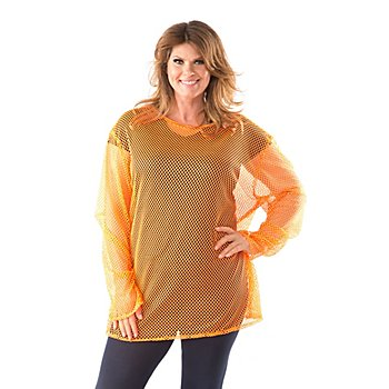 T-shirt filet pour femmes fortes, orange fluo