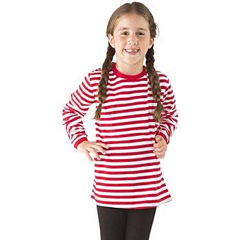 Langarmshirt für Kinder, rot/weiss