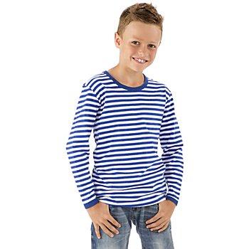 Langarmshirt für Kinder, blau/weiss