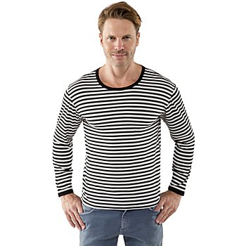 Langarmshirt, schwarz/weiß