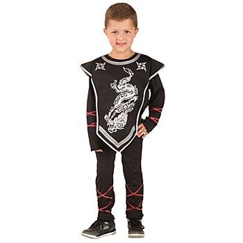 Ninja 'Dragon' Kostüm für Kinder, schwarz/silber