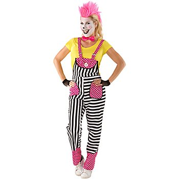 Salopette 'clown', noir/blanc/rose vif