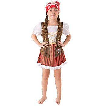 Piratin Kostüm für Kinder, braun/rot