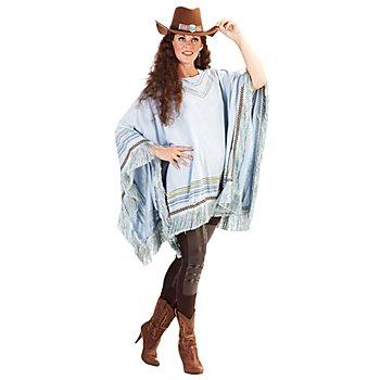 Western Poncho, blau