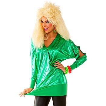 80er Jahre Glitzer-Longshirt, grün
