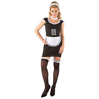Zimmermädchen Kostüm 'Chérie', schwarz/weiß