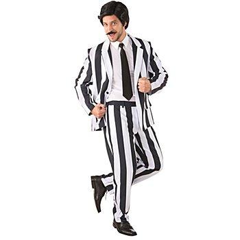 Anzug, schwarz/weiß gestreift